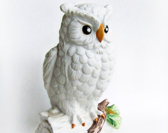 Vintage Large Snowy Owl Figurine 1970s Home or Office Decor Winter White Porcelain Owl on Stump with branch with green leaves