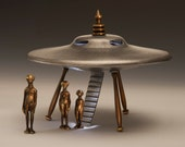 Flying Saucer, Cast Bronze and Aluminum With Alien Figures