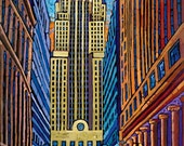 Chicago Board of Trade, CBOT building, CME building, downtown Chicago, LaSalle Street canyon, art print by Anastasia Mak