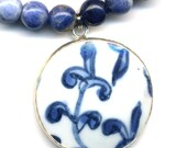 Blue Sodalite Necklace with Old Pottery Pendant,  OOAK Necklace -handmade jewelry  by AnnaArt72