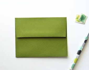 green envelope, dark moss green envelope, jelly bean green poptone french paper envelope a2, avocado green, 4 3/8 x 5 3/4
