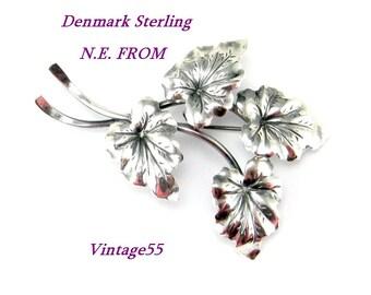 Brooch Sterling Leaves Denmark Neils Erik From