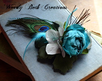 Something Blue Hair Clip Fascinator - ATS, Tribal Fusion, Belly Dance, Wedding, Prom, Pin Up, Steampunk