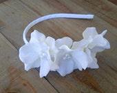 Bridal White Flower Girl Crown Headband, Wedding Floral Silk Flower Hair Piece, Small White Hydrangea Pearl Head Band
