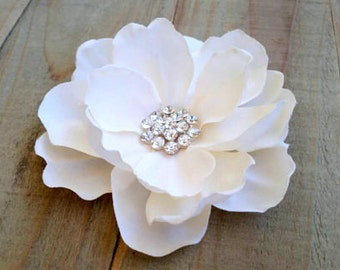 Ivory Magnolia Bridal Flower Fascinator Hair Clip Wedding Accessory Floral Headband Bride Hair Cake Topper Brooch Pin Ring Bearer Pillow