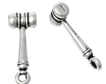 Gavel/Hammer  - Set of 15 charms - 3D Style - #MJK160