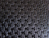 Faux Leather Fabric in Basket Weave Pattern - Black - Half Yard - Vegan Leather