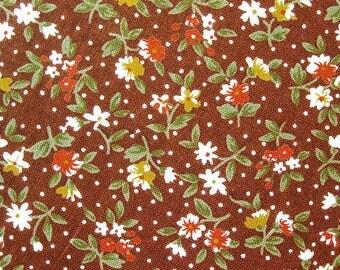 FREE SHIPPING Tea Garden on Brown Fabric- Japanese Cotton Fabric (F004) - Fat Quarter