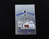 Nebraska State Map Charm, Vintage White Cloisonne Hard Enamel Silver Charm, Nebraska Charm Pendant, NOS On Original Card