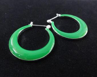 Vintage Hoop Earrings- Bright Green Enamel & Silver Metal- Green Earrings