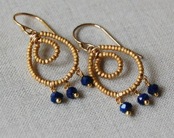 Delicate Lapis and Matte Gold Beaded Earrings, Navy Blue and Gold