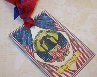 4th of July Tags Patriotic Tags Americana Tags Vintage Style Set of 6