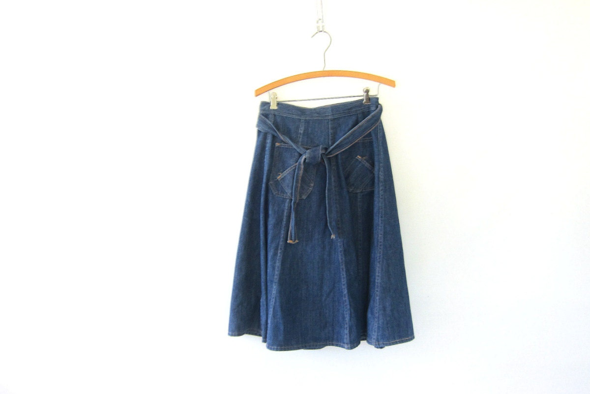 vintage denim midi wrap skirt blue wrap skirt size 10