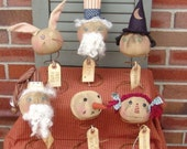 primitive holiday pattern, seasonal patterns,doll sewing, Primitive Nodders, Rusty Springs, witch annie snowman bunny rabbit uncle sam santa
