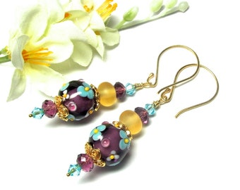 Purple Earrings Floral Earrings Elegant Earrings Flower Earrings Lampwork Earrings Glass Earrings Artisan Earrings Beaded Earrings