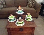 Woodland theme baby boy shower diaper Cakes Baby Shower Centerpieces in other colors and sizes too