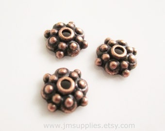 Bead Cap, Antiqued Copper 8x3mm