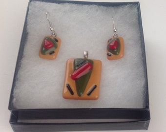 Fused Glass Pendant and Earrings