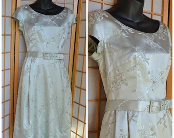 50s silver silk brocade cocktail dress womens size small