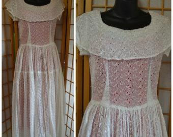 50s silk eyelet lace organza wedding dress womens size small