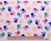"KIDS HANDPRINTS FABRIC - Precut 20"" x 13"" Square -  For Quilting, Appliques"