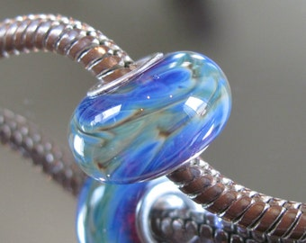 "Tangled Sky Glass ""Pulse"" #1 Fully Sterling Silver Lined Lampwork Charm Bead BHB"