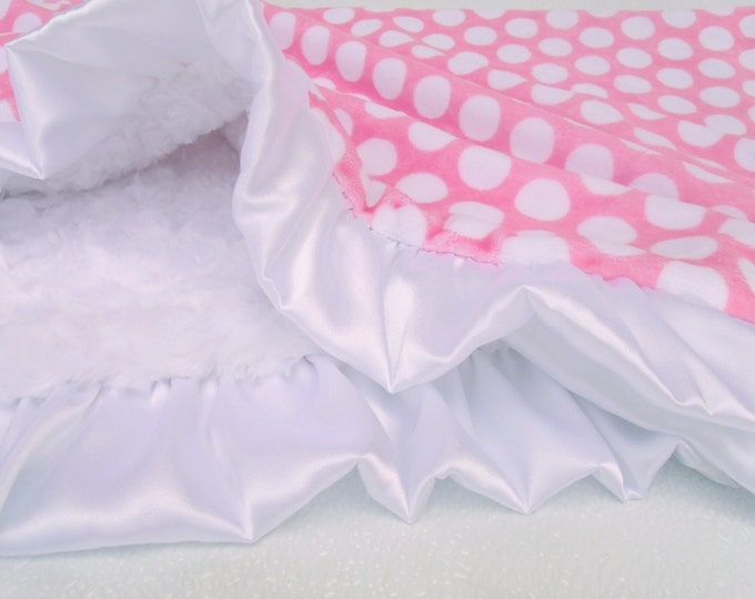 White and Pink Polka Dot Minky Baby Blanket, Pink White Mod Dot Blanket, Pink and White Blanket Can Be Personalized