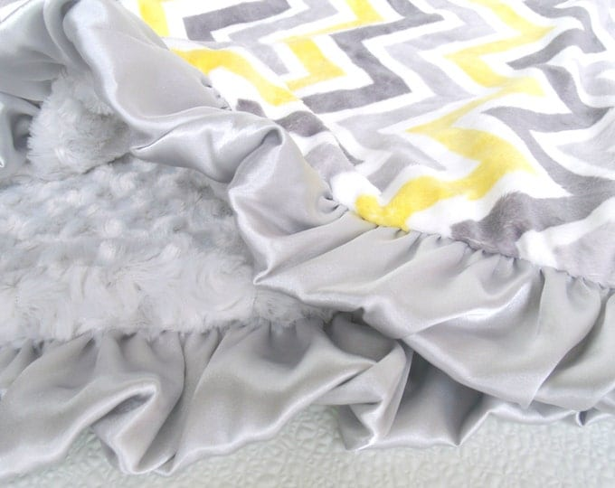Yellow and Gray Chevron with Silver Swirl Minky Baby Blanket