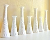 Set of Matching White Milk Glass Vases Centerpieces - 7 Seven More available