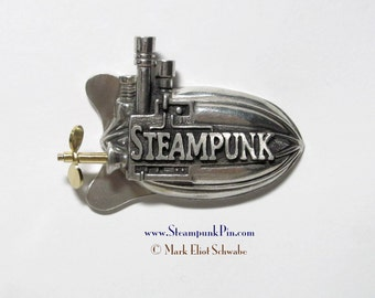 "Steampunk pin, the word ""Steampunk"" front & center - declare your style! This is the limited edition version with SPINNING propeller"