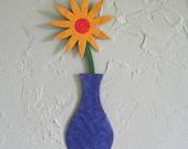 Metal flower sculpture vase home wall decor reclaimed metal art purple