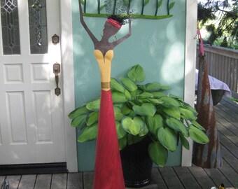 Large Metal Standing Sculpture Exotic Caribbean Lady Dancer 5ft Tall Garden Metal Art Red Yellow Indoor Ourdoor
