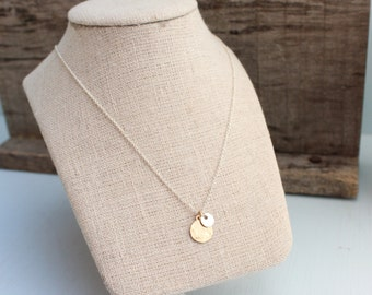 Gold Filled & Petite Sterling Silver Tag on Sterling Silver Chain