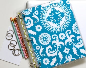 Three Ring Notebook Binder, 9 x 11, Suzani, Deep Teal