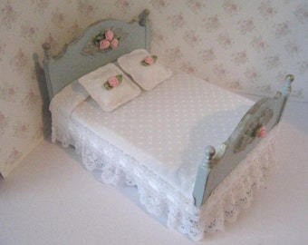 Dollhouse Double bed,  Duck egg blue bed, Pink roses,   Miniature Bed, Dollhouse  bedroom, twelfth scale