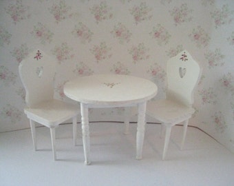 Dollhouseround table and chairs. tea room ,  distressed white with rose bouquets,  Twelfth scale dollhouse miniature