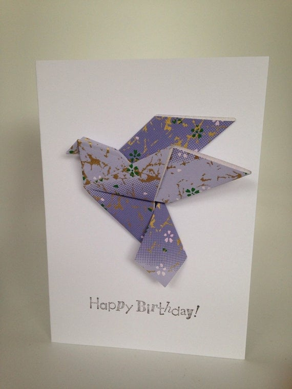 origami 'happy birthday' greeting card purple