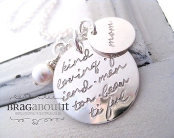 Mommy Necklace . Mommy Jewelry . Personalized Necklace . Hand Stamped Personalized Jewelry . Brag About It . Endless Love