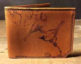 wallet - leather wallet - mens wallet- mens leather wallet - sketch birds wallet - 0016