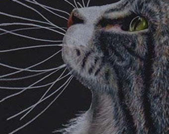 Tabby Cat Profile Art Note Card