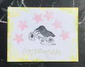 Crow card vintage SUMMER CLEARANCE hand printed birthday greeting card crow art letterpress look