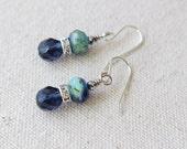 Blue Stacked Rhinestone Earrings