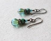 Aqua Rhinestone Earrings