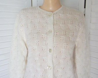 Cardigan Sweater, Lined, Off-White or Cream by Neiman-Marcus - Size M