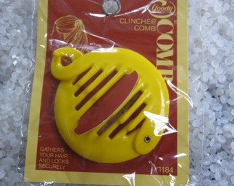 vintage hair accessory ring comb ponytail  holder , bright yellow clincher comb SALE