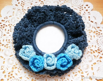 Double Frill Crocheted Scrunchie - Blue Roses