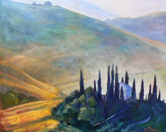 Tuscan Landscape Print,  Giclee Canvas Landscape, gold, green, blue, free shipping