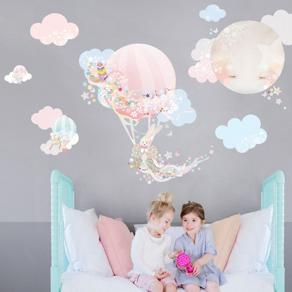 Hot Air Balloon Fabric Decal Wall Stickers Pretty Floral