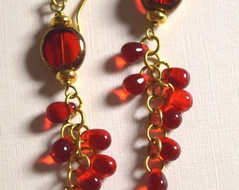 Red glass and brass cluster earrings in brass
