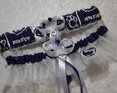 Handmade wedding garters keepsake and toss PENN STATE wedding garter set